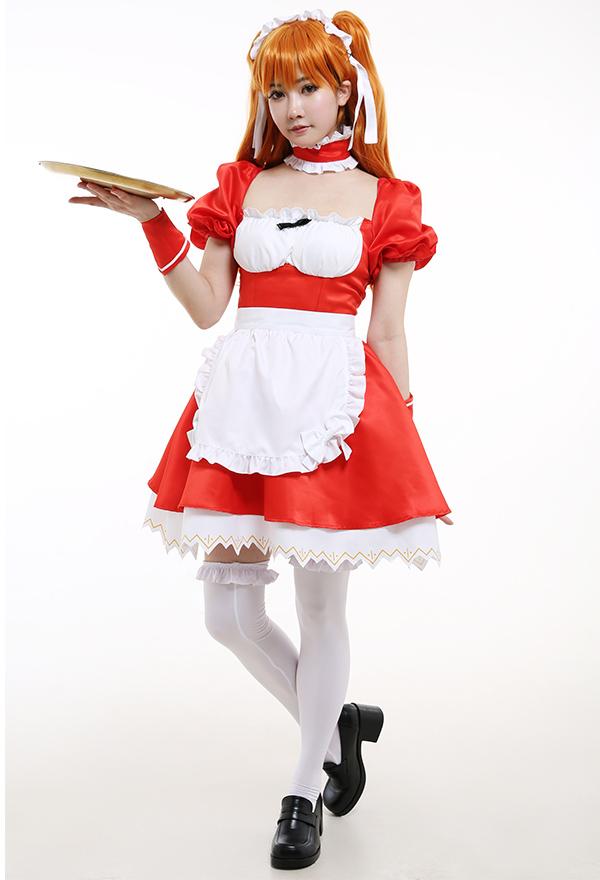 Neon Genesis Evangelion Cosplay Kostüm Asuka Rote Kleid mit Spitze Rüschen Dienstmädchen Outfit mit Schürze Kniestrümpfe Choker Armbinde Cosplay Kostüm