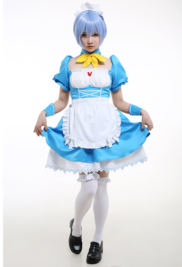Neon Genesis Evangelion Cosplay Kostüm Rei Ayanami Blaues Puffärmel Kleid Dienstmädchen-Outfit mit Hals Dekoration Haarschmuck Schürze Cosplay Kostüm