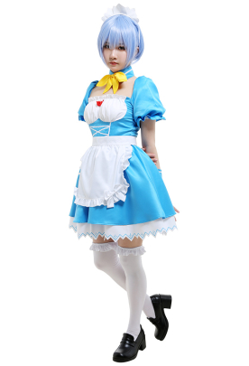 Neon Genesis Evangelion EVA Rei Ayanami Maid Dress Set Cosplay Costume Outfit with Headdress Collar Sleeves Stockings Apron Bow Accessories