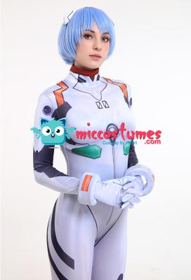 Neon Genesis Evangelion EVA Rei Ayanami Cosplay 3D Printed White Bodysuit Jumpsuit Costume