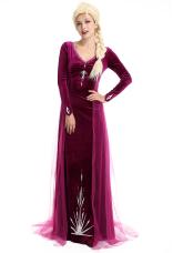 Princess Elsa Queen Purple Cosplay Costume Dress Gown