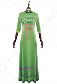 Princess Anna Green Nightgown Long Bedroom Dress Cosplay Costume