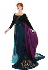 Exclusive Queen Anna Cosplay Costume Dark Green Dress Chamois Gown