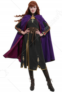 Deluxe Princess Anna Cosplay Costume Coat Dress Set