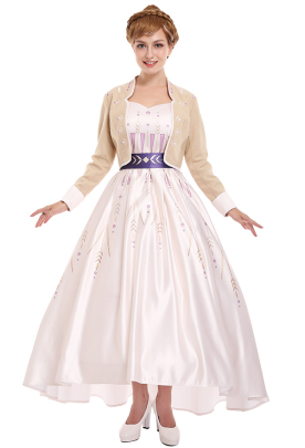 Princess Anna Cosplay Costume Dress with Top Coat