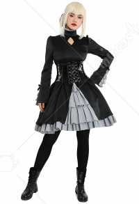 Fate/Hollow Ataraxia Costume de Cosplay Saber Artoria Pendragon Robe Gothique Lolita Noir