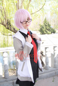 Fate/Grand Order Shielder Matthew Kyrielite Casual Costume Cosplay Set with Stocking, Glasses, and Wig