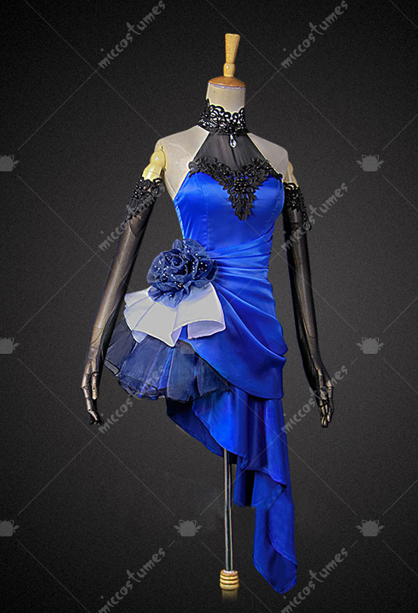 Spark Anime FGO Fate/EXTELLA: The Umbral Star Saber Altria Pendragon Blue  Dress Cosplay Costume with Anklets