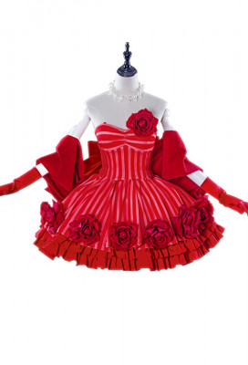 FGO Idol Emperor Nero Cosplay Red Rose Dress Costume
