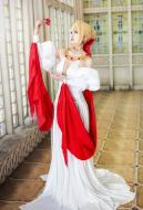 Fate/Grand Order 2nd Anniversary Saber Nero Cosplay Costume Luxury White Dress