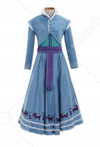 Costume de Cosplay Princesse Anna Robe Bleue