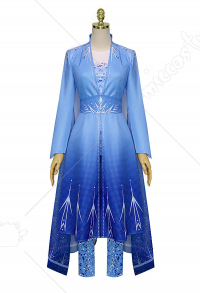 Snow Queen 2 Princess Elsa Cosplay Costume Blue Dress Gown