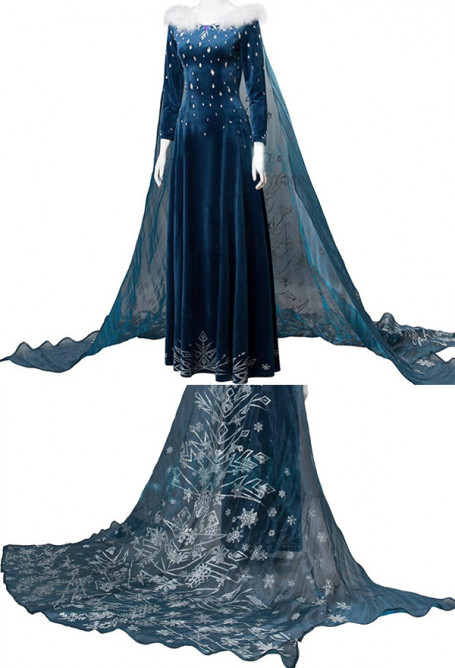 Snow Queen 2 Princess Elsa Dark Blue Dress Gown Cosplay Costume