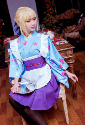 Fate/Stay Night Tohsaka Rin Matou Sakura Saber Cosplay Maid Costume