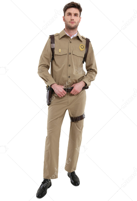 Adult Men Vintage Police Officer Sheriff Halloween Costume For Retro Party