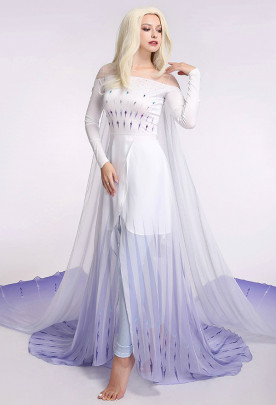 Exclusive Princess Elsa Queen Ice Blue Cosplay Costume Dress Gown