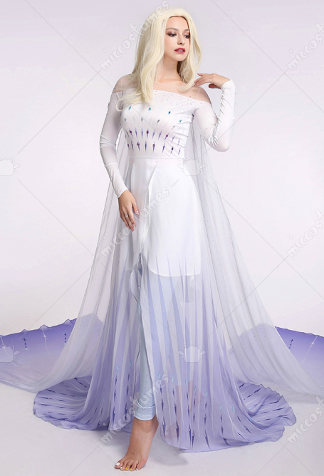 Exclusive Princess Elsa Queen Ice Blue Cosplay Costume Dress Gown