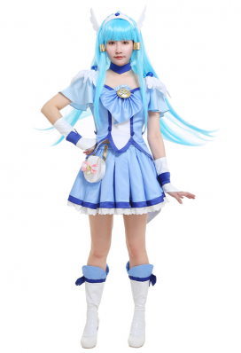 Smile Pretty Cure! Glitter Force Cure Beauty Glitter Breeze Reika Aoki Blue Magenta Bow Top and Skirt Battlesuit Cosplay Costume Outfits with Waist Bag and Accessories