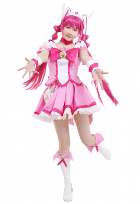 Smile Pretty Cure! Glitter Force Cure Happy Glitter Lucky Hoshizora Miyuki Pink Magenta Bow Top and Skirt Battlesuit Cosplay Costume Outfits with Waist Bag and Accessories