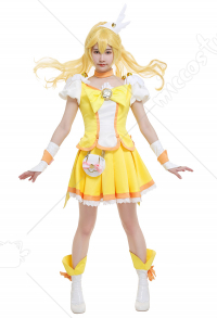 Smile Pretty Cure! Glitter Force Cure Peace Glitter Peace Kise Yayoi Yellow Magenta Bow Top and Skirt Battlesuit Cosplay Costume Outfits with Waist Bag and Accessories