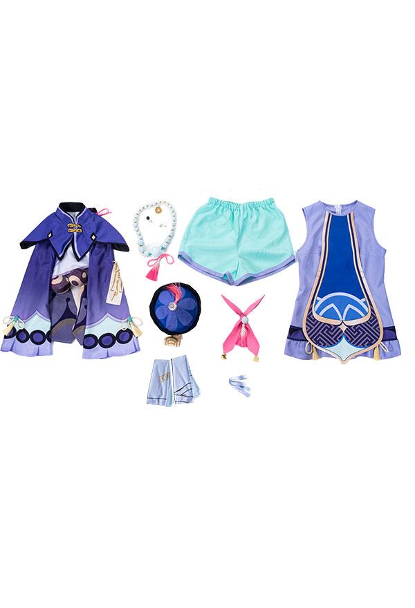 Genshin Impact Qiqi Cosplay Kostüm Hut Haarschmuck Socken Cosplay Kostüm