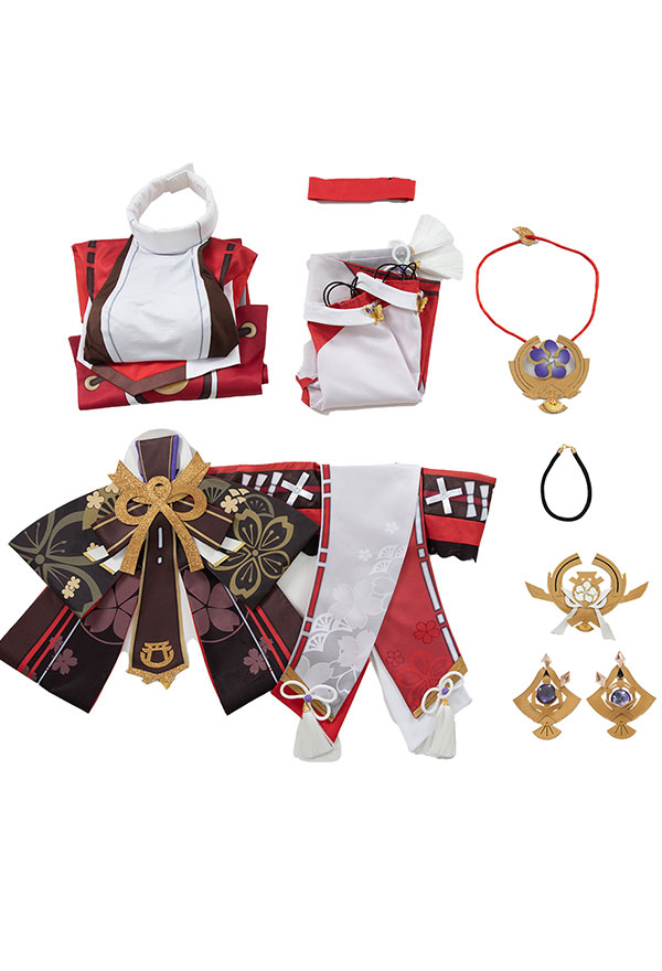Genshin Impact Yae Miko Cosplay Kostüm Kleid Halsschmuck Cosplay Kostüm