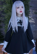 Japanese Harajuku Gothic Lolita Black Style Doll Girl Long Sleeve Lace OP British Lolita Dress