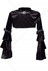Dark Punk Cloak Improved Cheongsam Agraffe Cape Long Balloon Sleeves Short Top