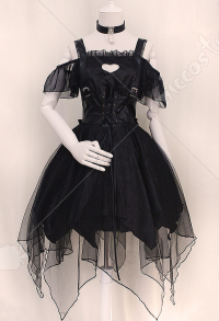Gothic Lolita Cute Cold Shoulder Lacing Lace Ruffles Hem Irregular Dress