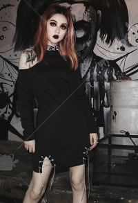 Dark Gothic Cold Shoulder Dress Punk Cool Girl High Collar Embroidery Dress