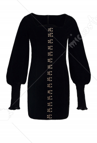 Dark Gothic Black Elegant Retro Square Collar Dress with Puff Sleeves
