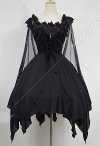 Dark Gothic Cute Lace Ruffle Hem Irregular Dress with Detachable Cape