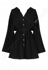 Dark Gothic Women Shirt Dress V Collar Long Sleeves Lacing Dress for Autumn