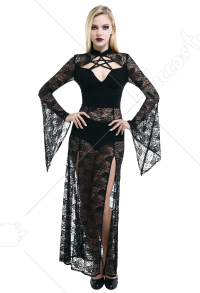 Dark Gothic Punk Elegant Lace Sheer Long Sleeve High Split Dress Sexy Chest Pentagram Hollow Women Retro Tight Fitting Cheongsam Collar Goth Long Dress Outfit with Gloves