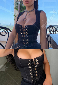 Girls Gothic Punk Dark Style Black Lace Up Vest Top Inner Coat Women Sleeveless Corset Crop Top