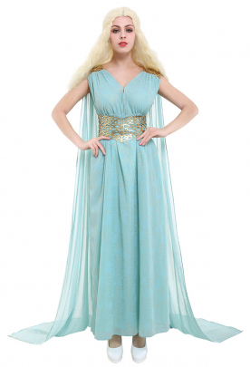 Game of Thrones GOT Daenerys Targaryen Khaleesi Blue Dress Women Cosplay Costume Gown