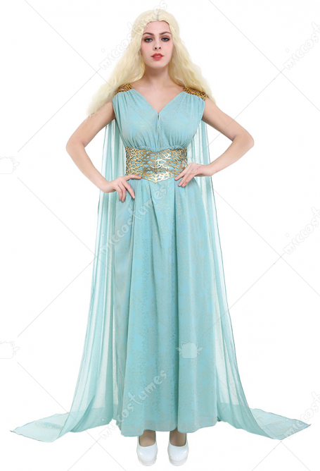 Game of Thrones GOT Costume de Cosplay Khaleesi Robe Bleue de Daenerys Targaryen