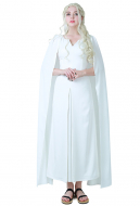 [Free Shipping]Game of Thrones A Song of Ice And Fire Daenerys Targaryen White Dress Cosplay Gown Costume