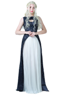 [Free US Economy Shipping] Game of Thrones A Song of Ice And Fire Daenerys Targaryen Dark Navy Blue and White Dress Cosplay Gown Costume