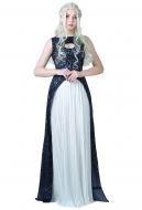 Game of Thrones A Song of Ice And Fire Daenerys Targaryen Dark Navy Blue and White Dress Cosplay Gown Costume