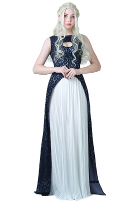 Game of Thrones A Song of Ice And Fire Daenerys Targaryen Gray and White Dress Cosplay Gown Costume