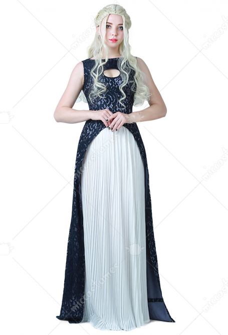 Game of Thrones Una canción de hielo y fuego Daenerys Targaryen Dark Navy Blue and White Dress Disfraz de traje de cosplay