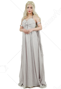 Game of Thrones A Song of Ice And Fire Daenerys Targaryen Cosplay Grey Long Dress