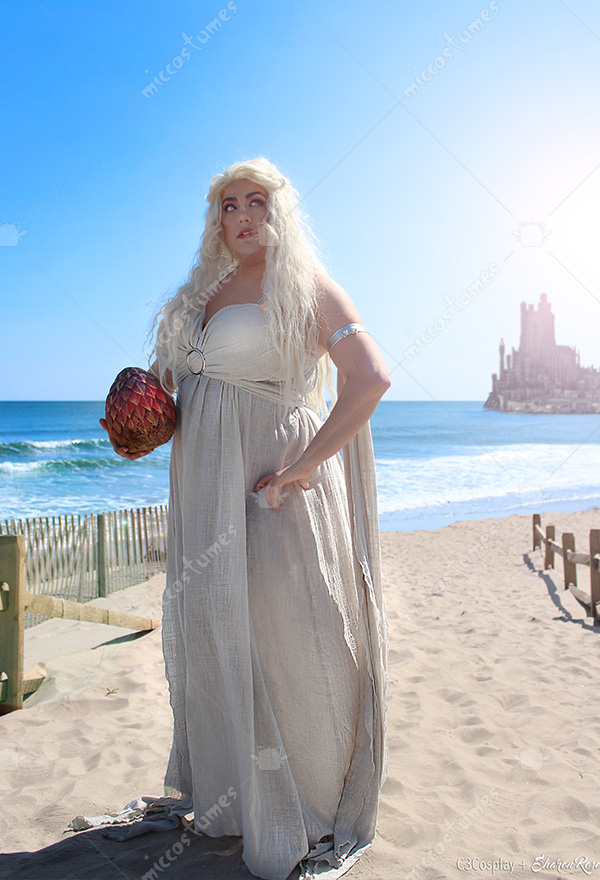 Plus Size Game of Thrones A Song of Ice And Fire Daenerys Targaryen Cosplay  Grey Long Dress