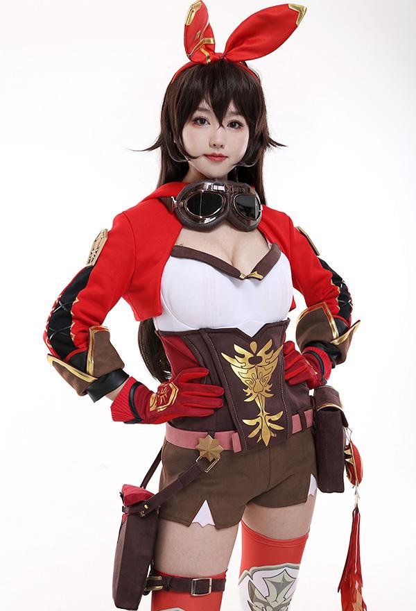 Genshin Impact Amber Süß Cosplay Kostüm mit Alles Zubehör