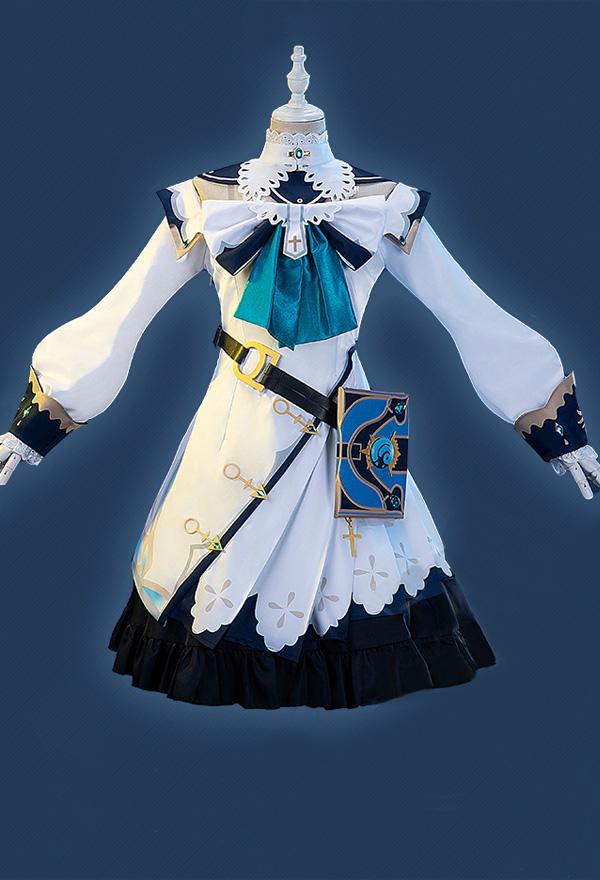 Genshin Impact Barbara Deaconess von Knights of Favonius Leuchtendes Starlet Cosplay Kostüm