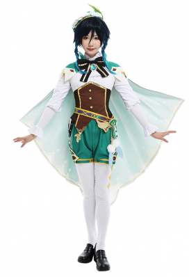Genshin Impact Bards Venti Female Wind Archon Cosplay Costume Fullset with Cloak and Feather Waist Accessory