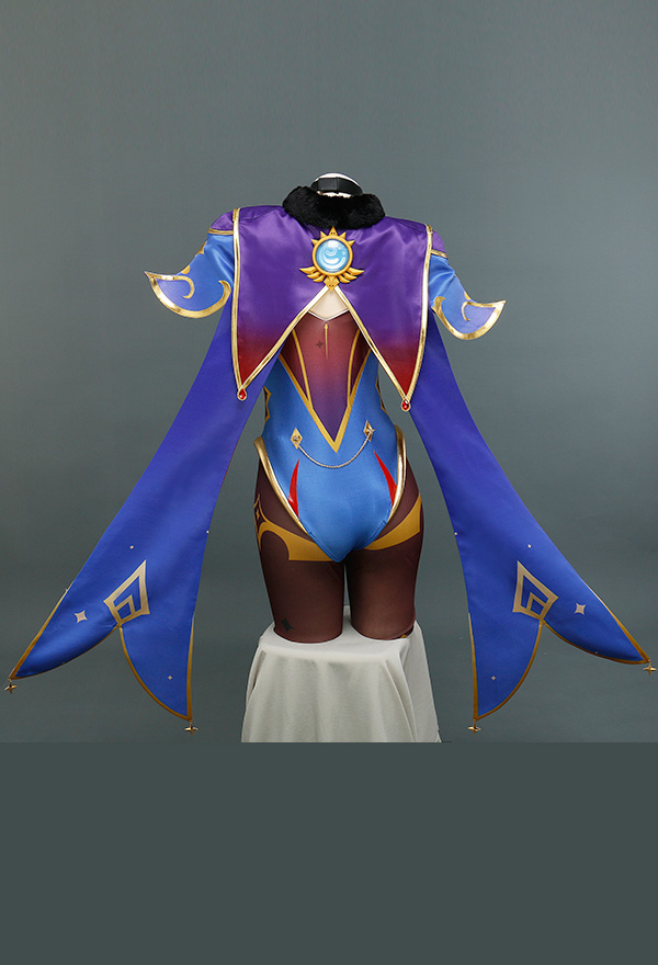 Genshin Impact Mona Megistus Hydro Cosplay Kostüm mit Hexenhut