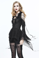 Dark Gothic Women Gothic Palace Style Stereoscopic Flower Collar Bandage Black Bare Shouldered Top