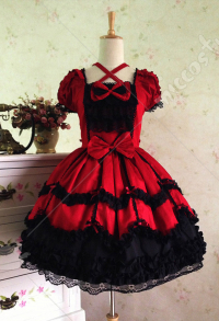 Gothic Bowknot Lace Lolita Stage Evening Dress Princess Lolita Court Dress